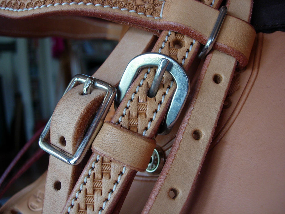 leather tack detail by Katy Haecker