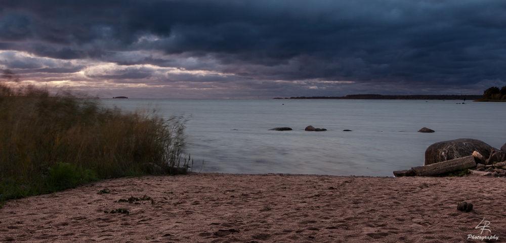 Photo in Landscape #sand #beach #water #sea #seascape #landscape #sky #clouds #dark #sunset #finland