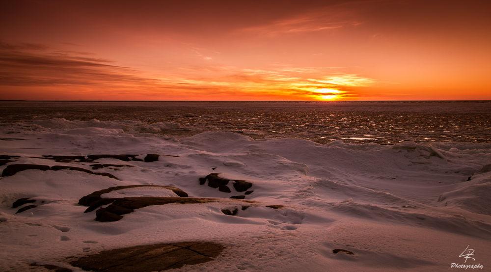 Photo in Landscape #sunset #sun #sea #seascape #landscape #snow #ice #rocks #sky #clouds #finland