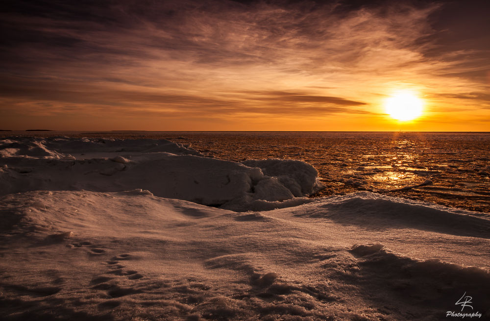 Photo in Landscape #sunset #sun #sea #ice #snow #sky #clouds #finland