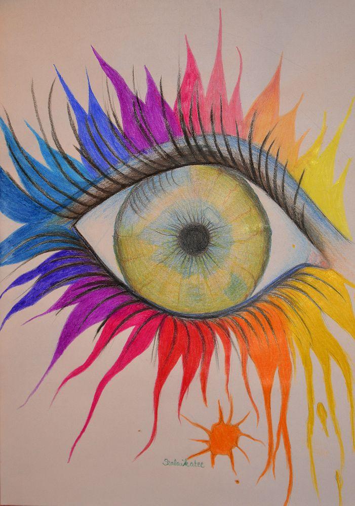 Photo in Random #eye #colors #szem #színek #drawing #rajz #yellow #sárga #orange #narancs #red #piros #purple #rózsaszín #lila #blue #kék #pink #green #zöld