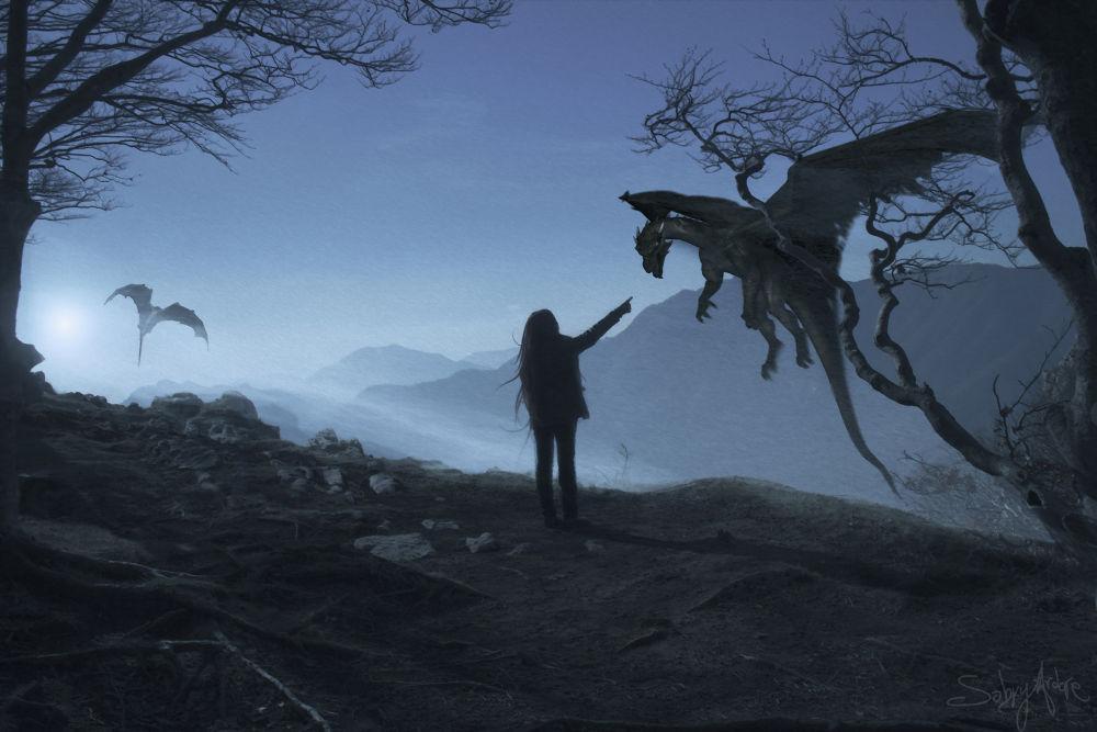 Photo in Fine Art #dragon #fantasy #girl #fly #blue #sky #cloud #digital art #naples #napoli #italy #terminio #mountain #creativity #sad #drago #artist #sabry ardore #air #moon #moonlight #romantic #friedrich #blu #photography