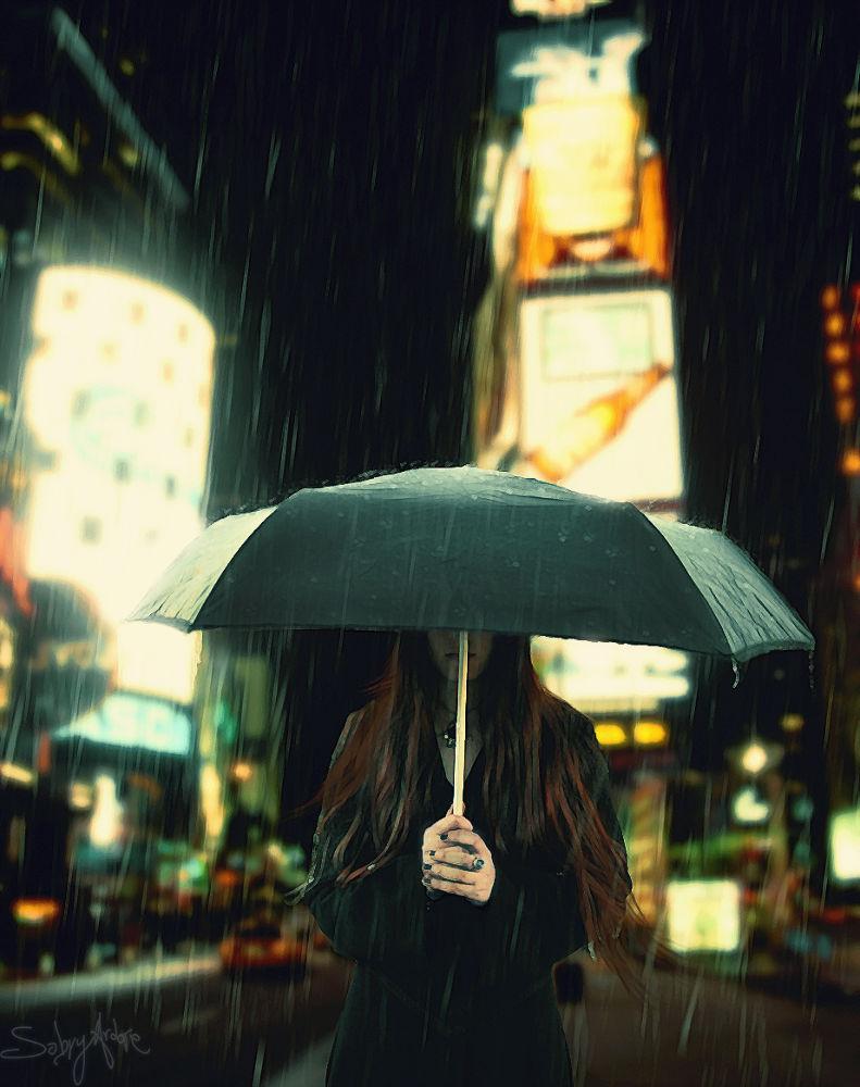 Photo in Fine Art #rain #pain #lonely #sad #girl #redhead #dark #new york #photoshop #digital art #artist #car #taxi #city #times square #america #usa #lights #light #wow #awesome #emotional #emotive #walking