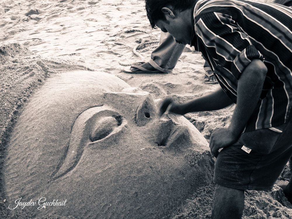 Sand Art of an Indian goddess by Jaydev Guchhait