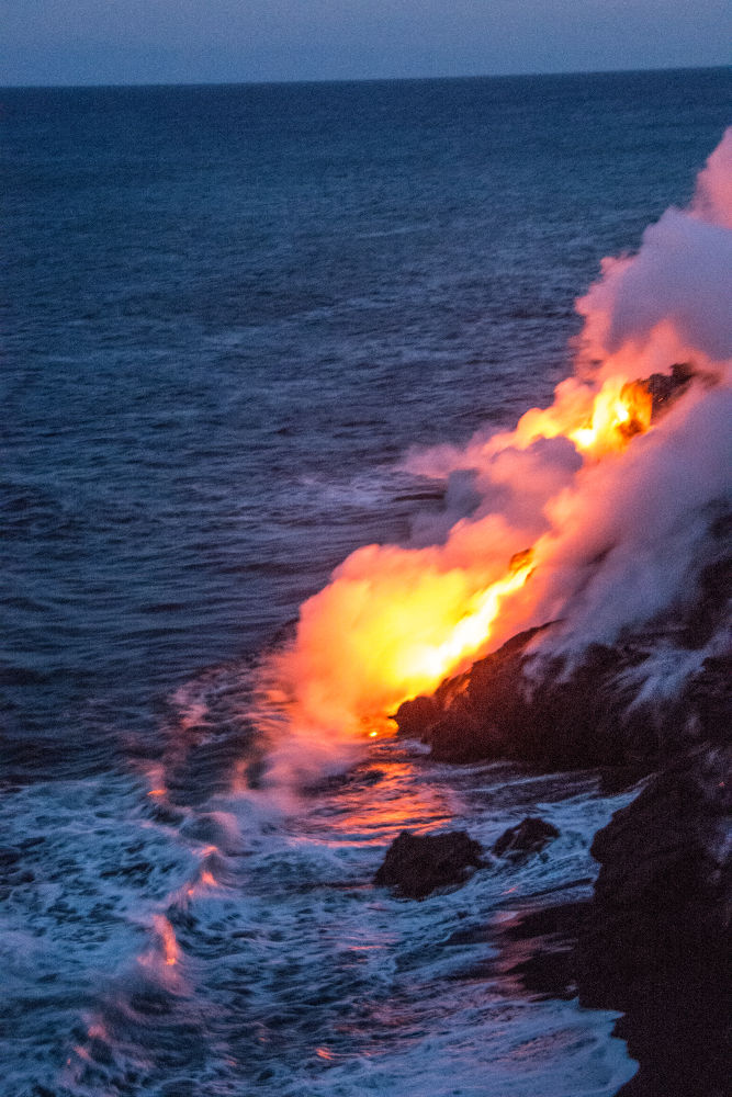 Lava Flow into the Ocean by DNadolney