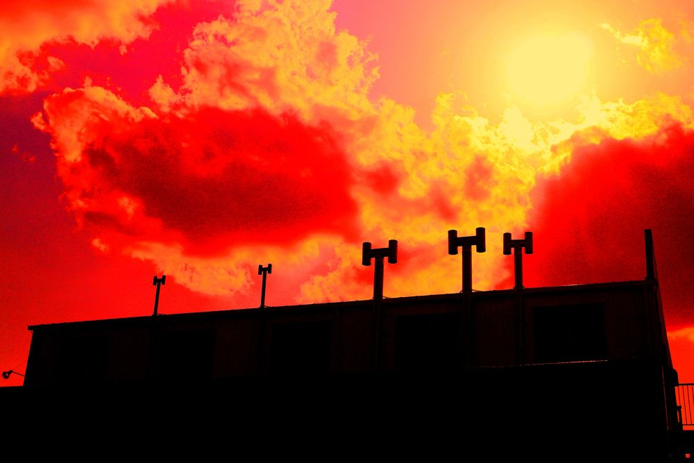 Photo in Abstract #five #chimney #red #factory