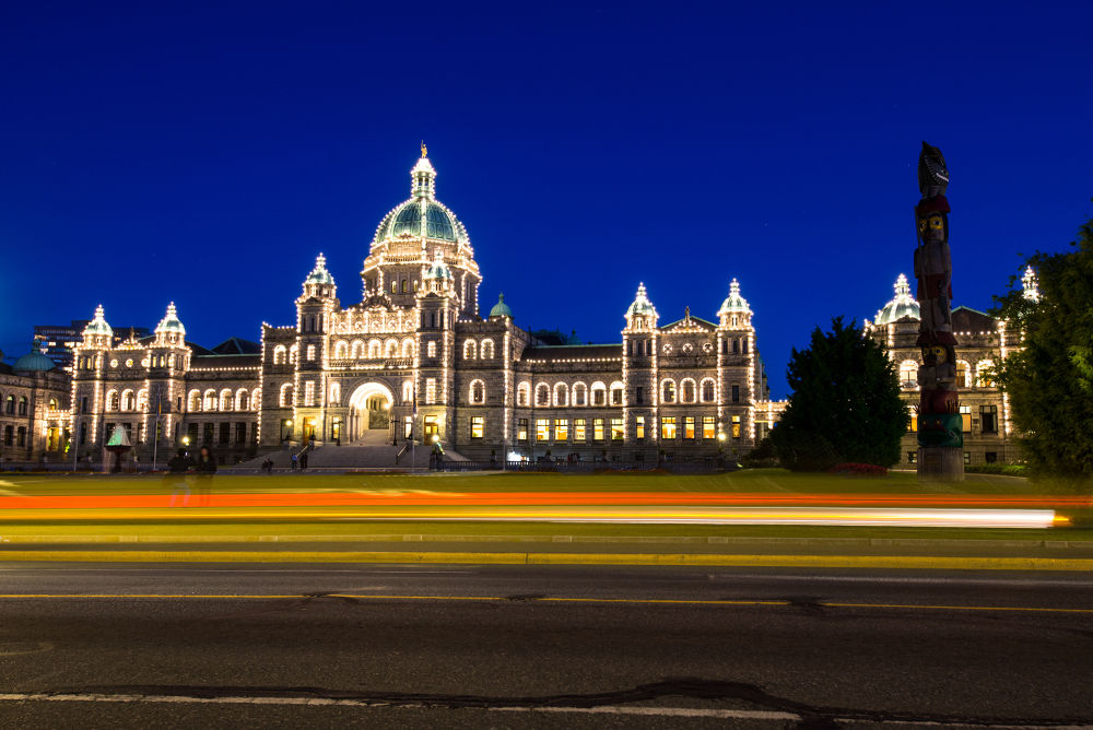 Photo in Cityscape #victoria #vancouver island #canada #british columbia #cityscape #night #nightscape #parliament #building #lights #totem #long exposure #blue hour #car