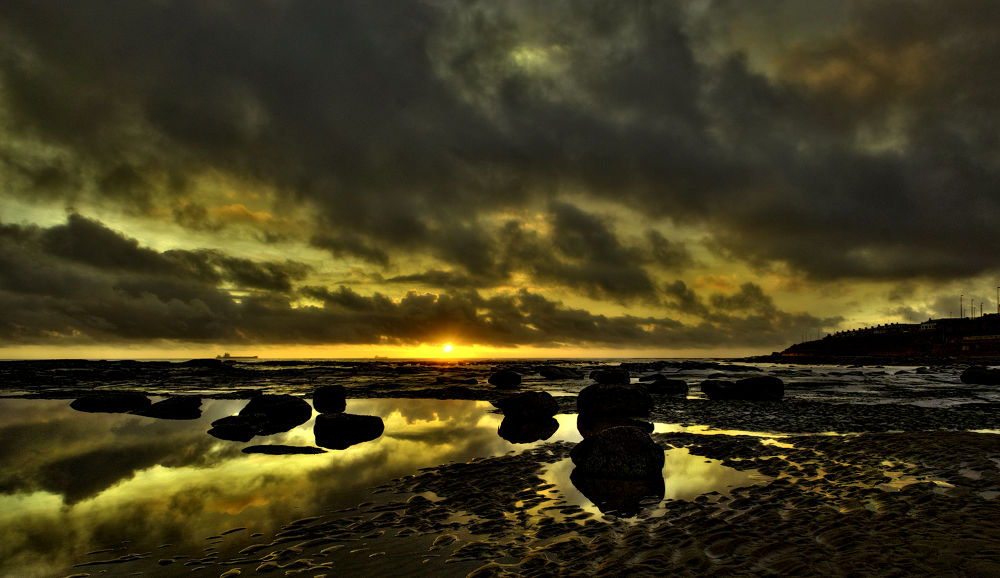 Photo in Nature #dawn #beach #light #reflections