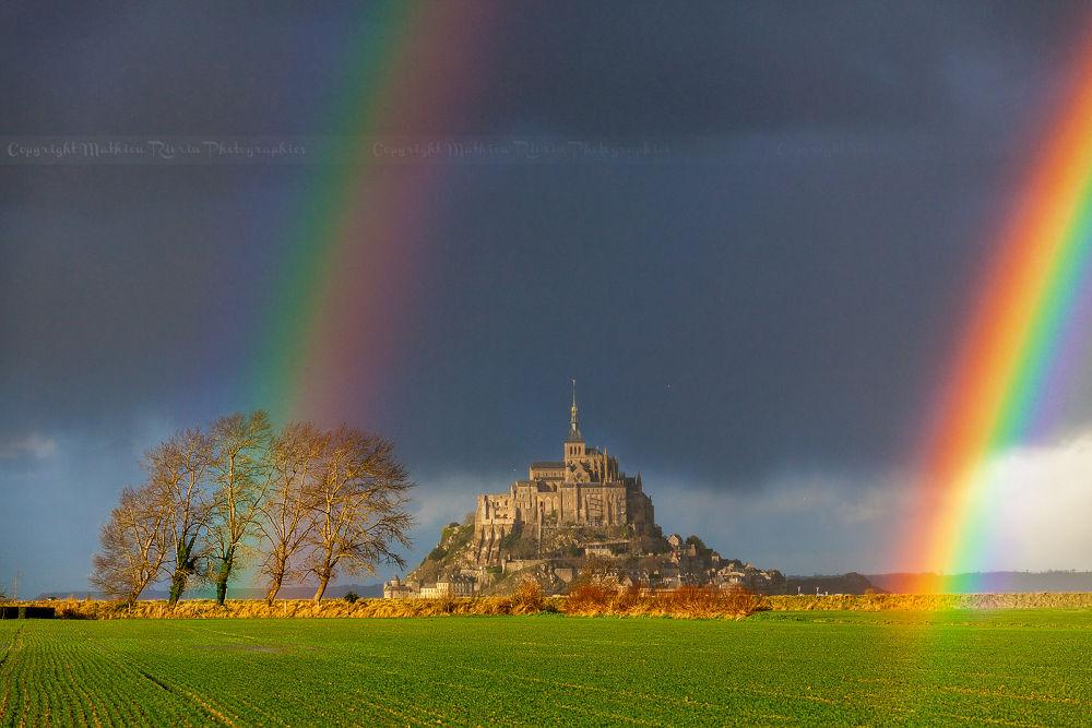 Photo in Nature #rainbow #double #arc en ciel #chance #light #fabulous #incredible #mont saint michel #mont #saint #michel #france #normandie #normandy #manche #monument #tourisme #tourism #holiday #vacances #storm #mathieu #rivrin #70-200mm #canon #5dmk2 #météo #weather #averse #eau #prism