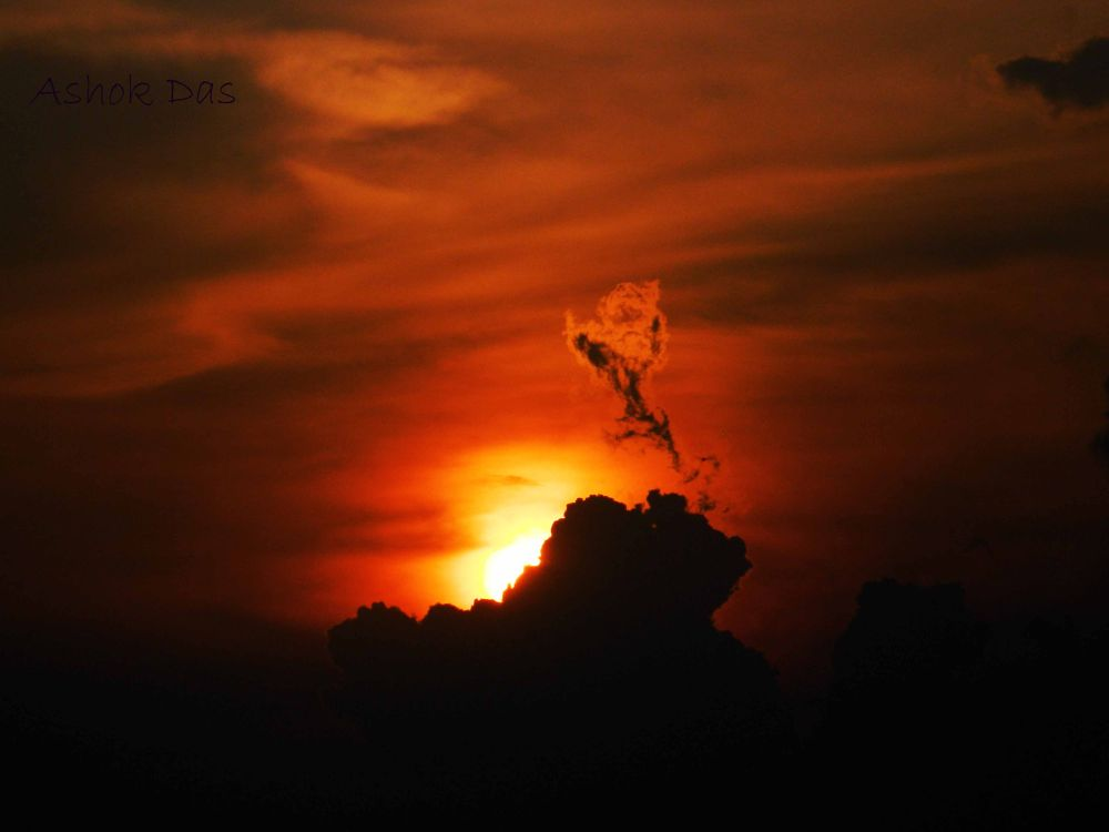 Lord Shiva Dancing on the clouds by Asok Kumar Das
