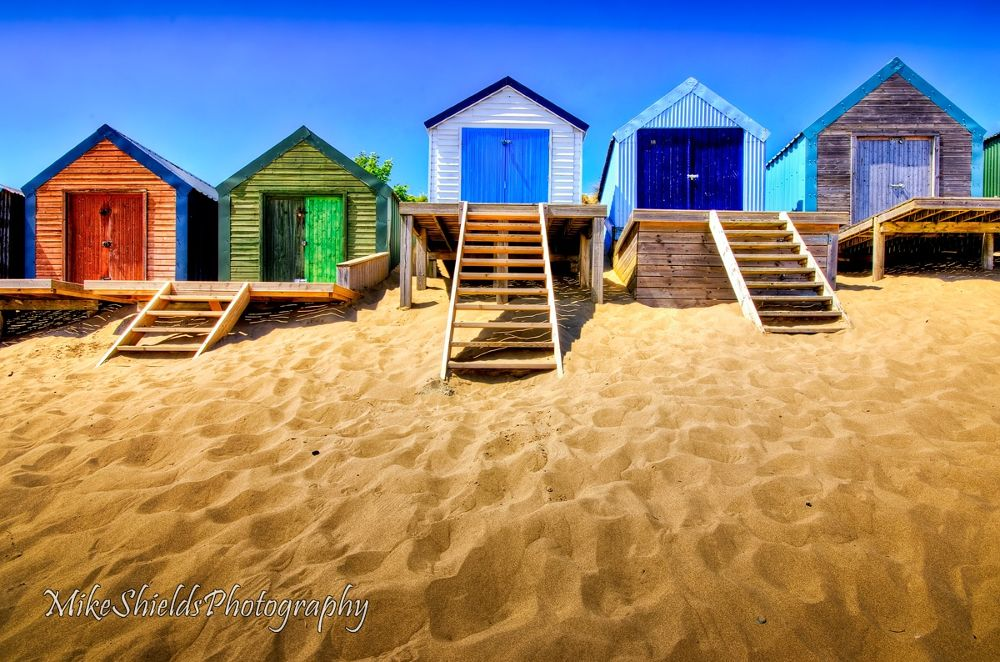 Photo in Sea and Sand #sand #beach #beach huts #colour #abersoch #steps