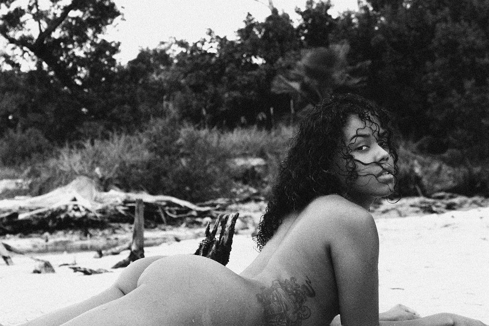 Photo in Black and White #raquel #tattoo #black #white #latin #butt #naked #nude #sexy #beauty #beautiful #hair #curly #lips #eyes #beach #water #wet