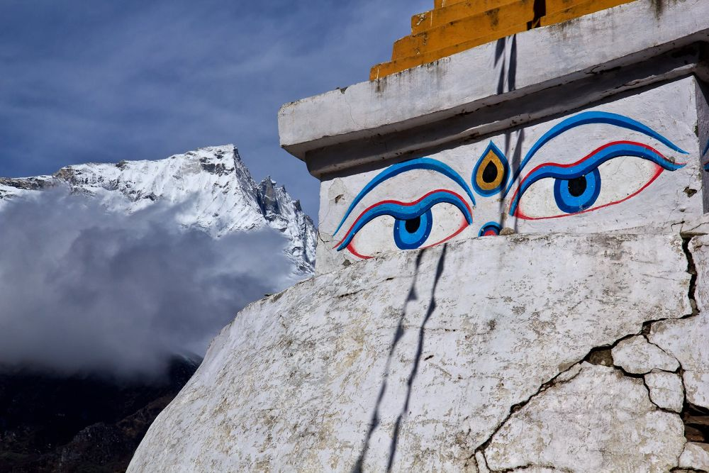 Photo in Landscape #bhudda #stupa #mountain #everest #nepal #prayer