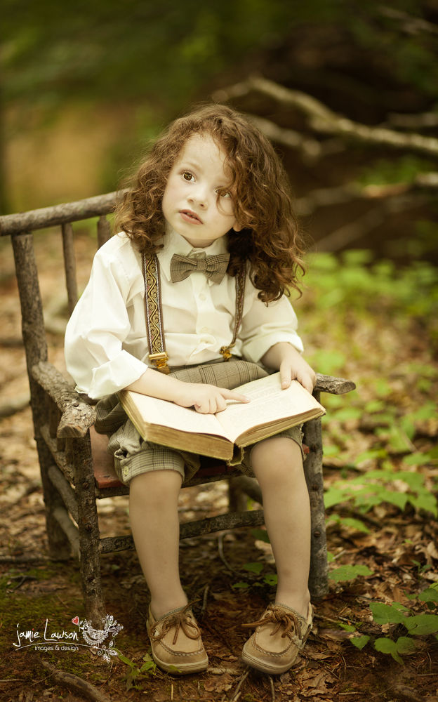Photo in Portrait #boy #rustic #vintage #antique #reading #book #woods #forest