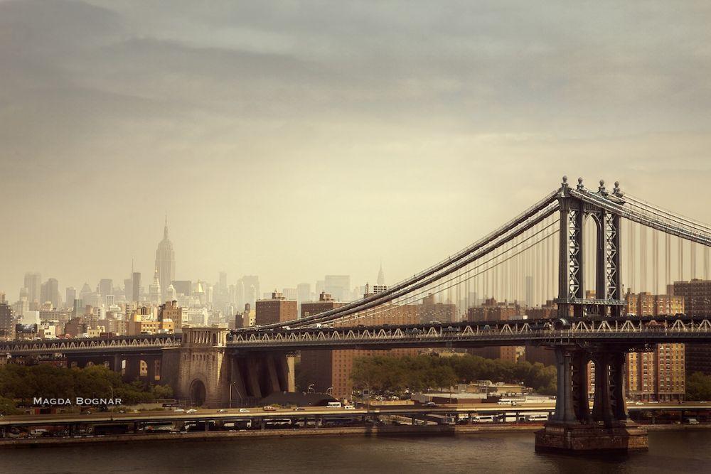 Photo in Architecture #nyc #new york #manhattan #bridge #empire building #fog #haze