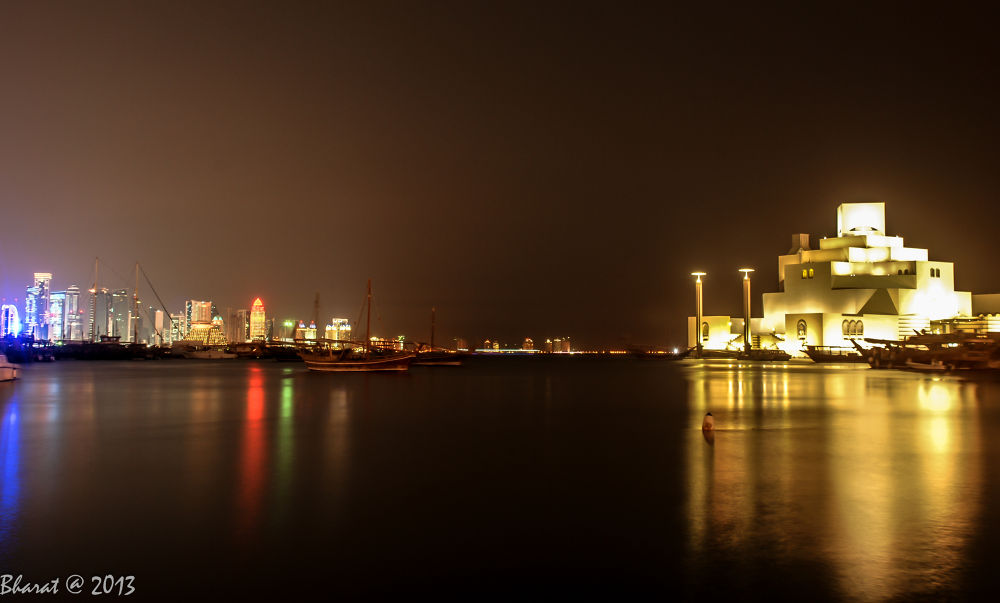 corniche of doha in evening  by Bharat Mishra