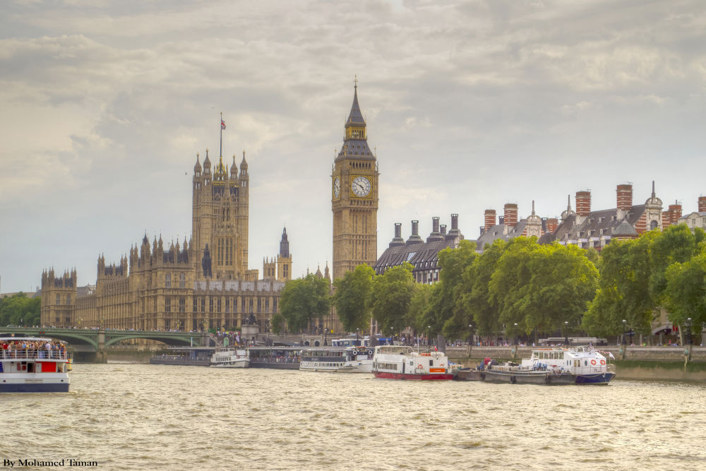 Westminster Parliament Palace, from river thames, London, UK.jpg by tamanm