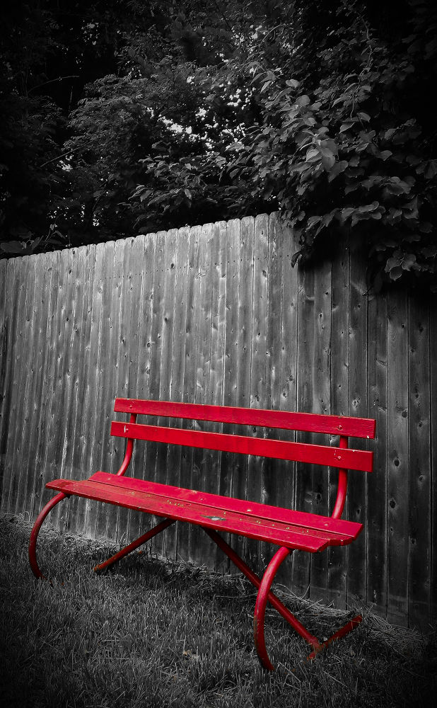 Red bench. by Wes Mieszczak
