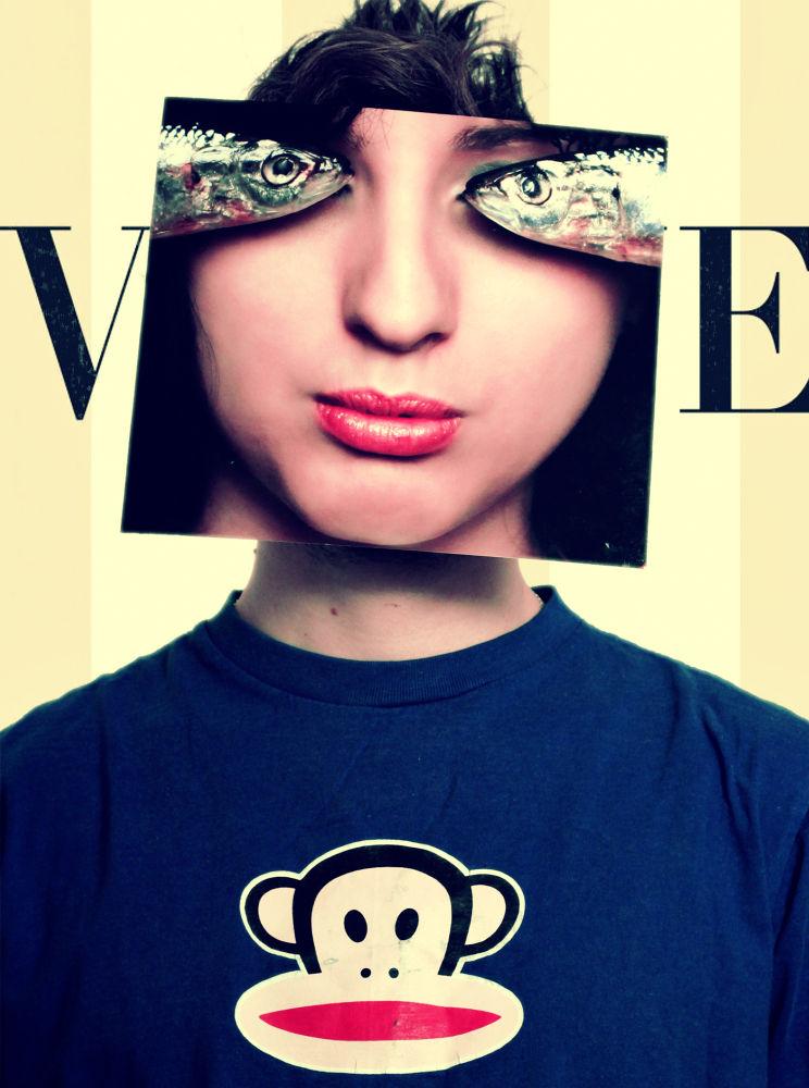 Photo in Portrait #portrait #selfportrait #vogue #fish #eye #fashion #monkey #face #andi topiczer