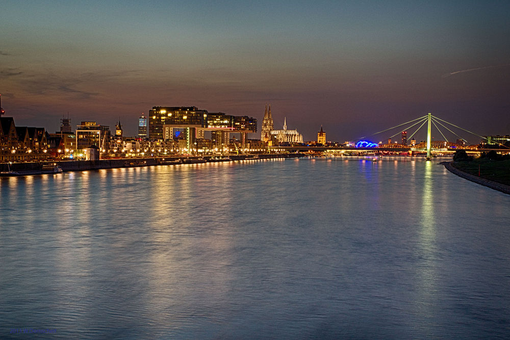 The river Rhine in Cologne by wolfdomscheit