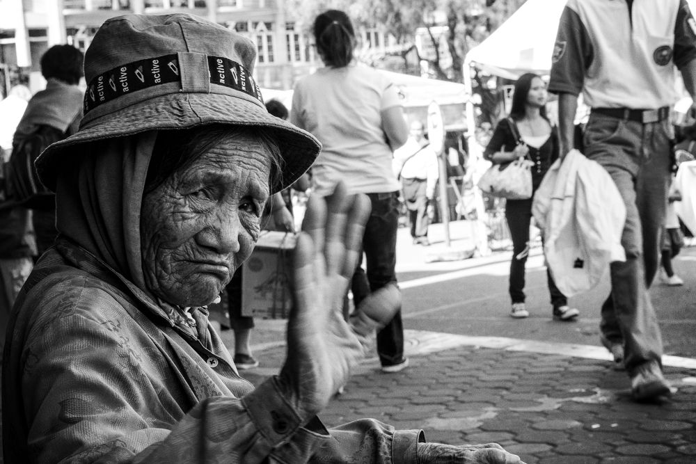 Photo in Street Photography #b&w #black and white #street #old #woman #homeless #ypa2013 #baguio #philippines