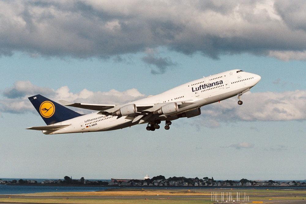 LH B747-400 departing KBOS by JeffinMass