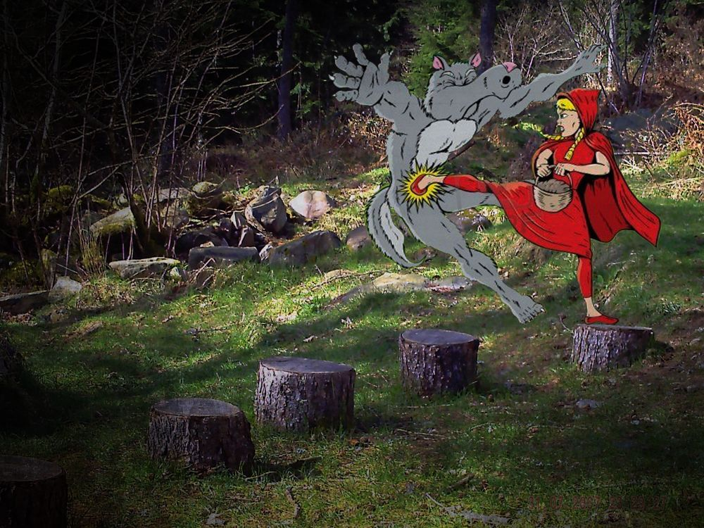 Resd Riding Hood Wolf Kick by paulhamilton969952