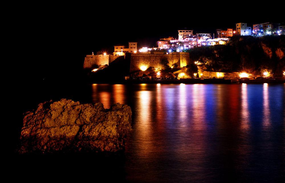 Photo in Landscape #ulcinj #montenegro #night #old #town #sea #landscape #rock #color