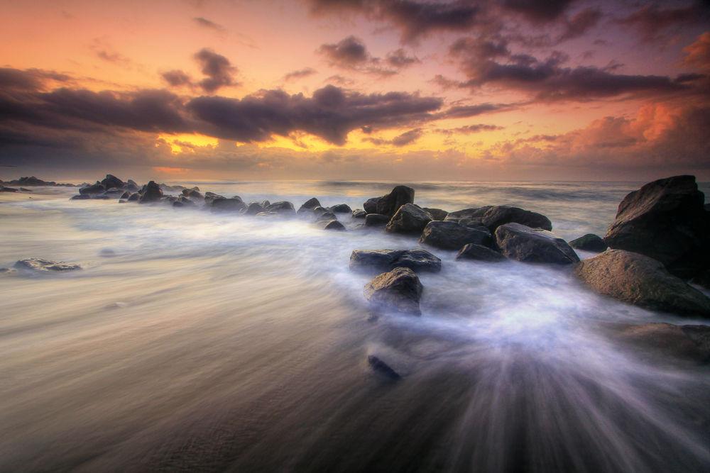 Photo in Landscape #stone #manyar #beach #bali #indonesia #morning #sunrise #wave #rock #stream