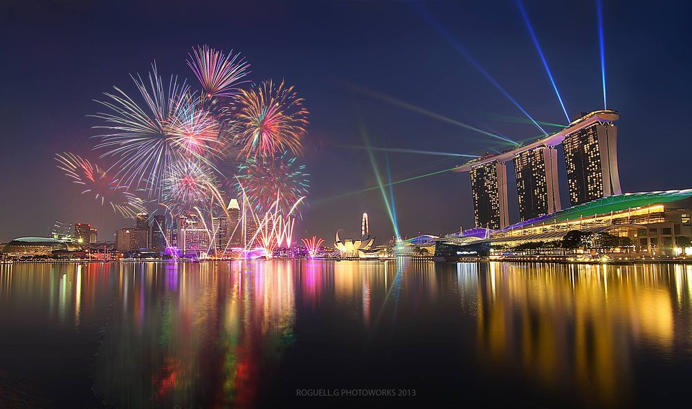 Photo in Random #singapore #fireworks #colours #marinabaysands #nationalday #preview #water #reflection #shoot #night #lights #crowd #laser #show