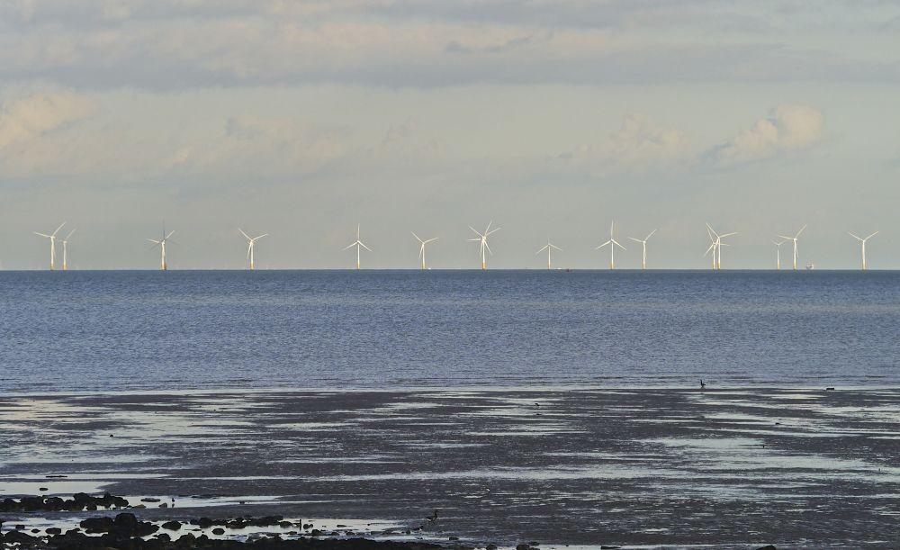 Wind Turbines, Off Shore, Warden Bay, Isle of Sheppey, Kent, UK. by rayeden