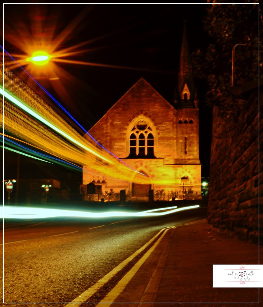 Photo in Random #traffic trails #bus #church #night time