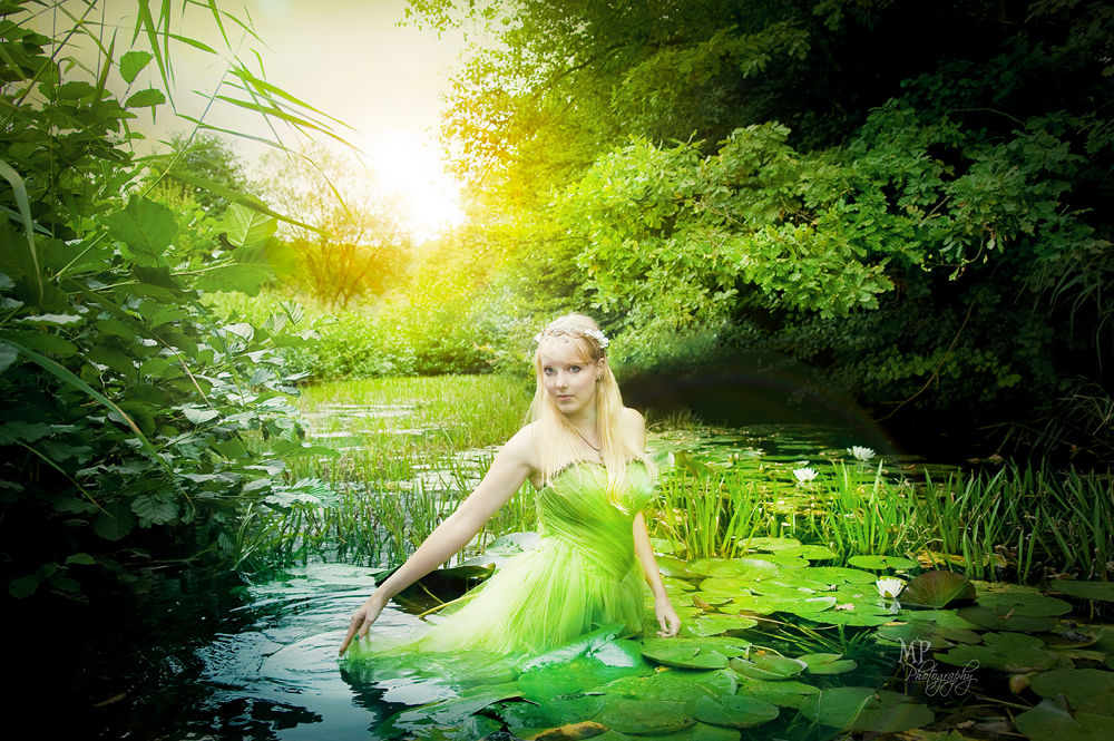 Photo in Portrait #nymph #water nymph #selfportrait #fairytale #enchanted #green #fairy #water lily #summer