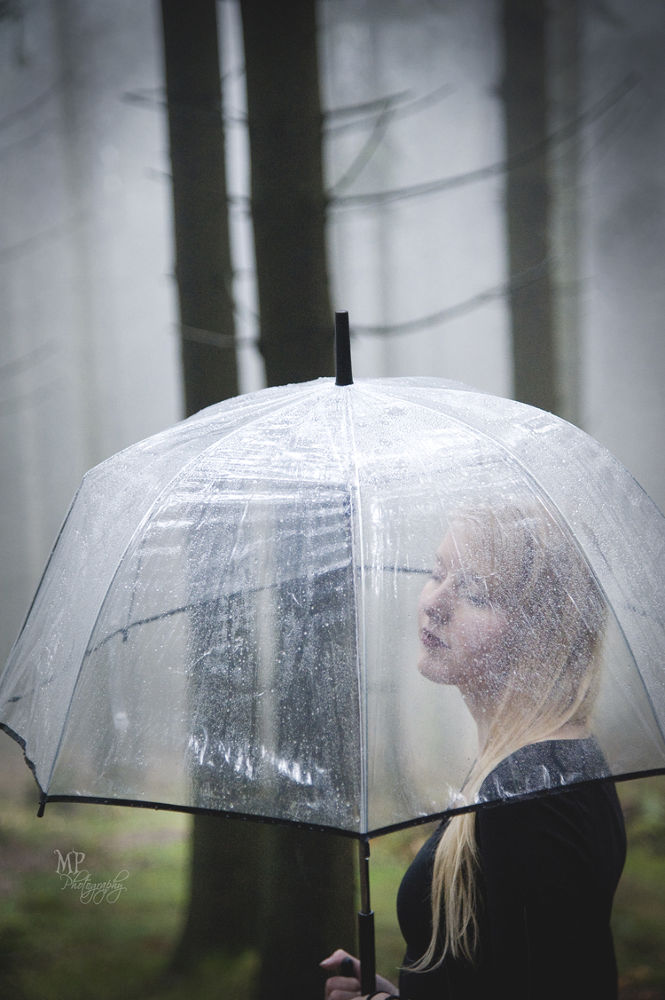 Photo in Portrait #rain #love #umbrella #melancholic #grey #fog #forest #woods