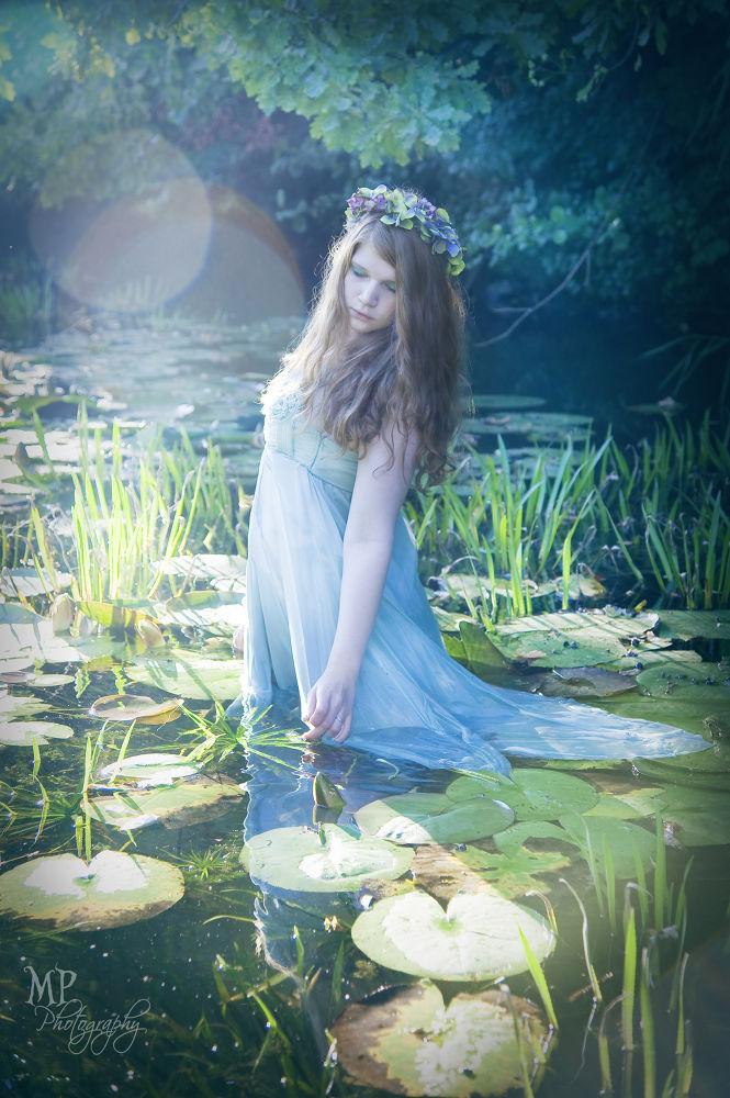 Photo in Portrait #nymph #nymphe #summer #green #water #water lily #water nymph #fairytale #fairy #märchen #enchanted #flowers #evening light #romantic dress #sundown #grass