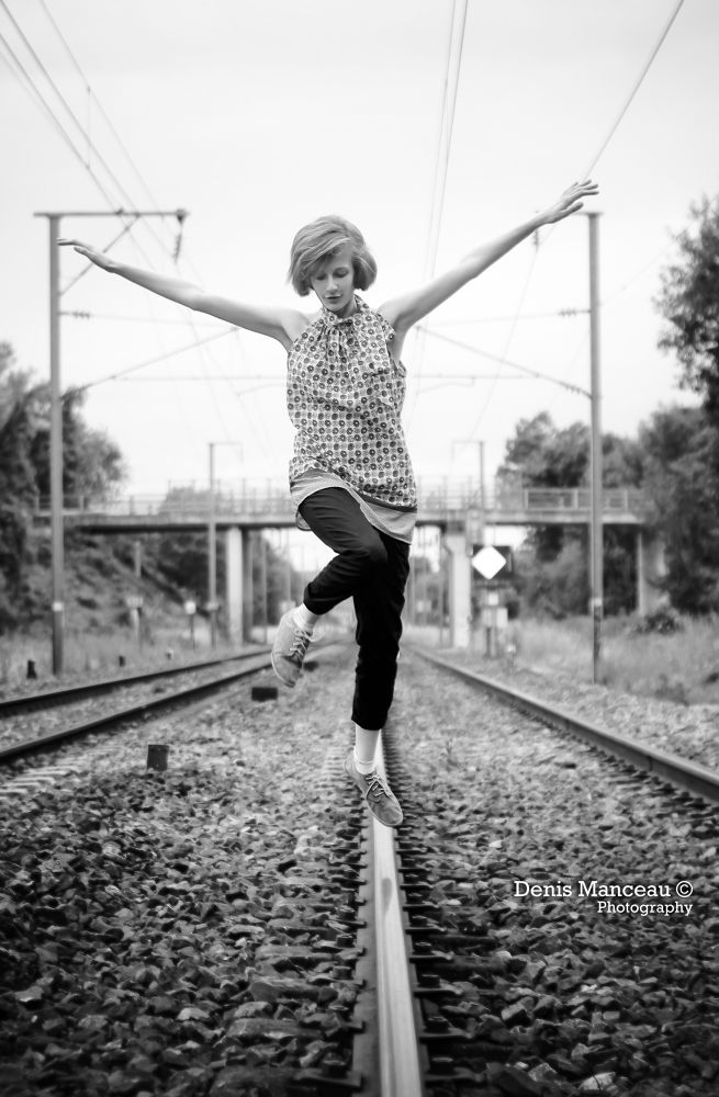 Photo in Random #train #railway #canon #denis manceau #black and white #hope #jump #track #50mm