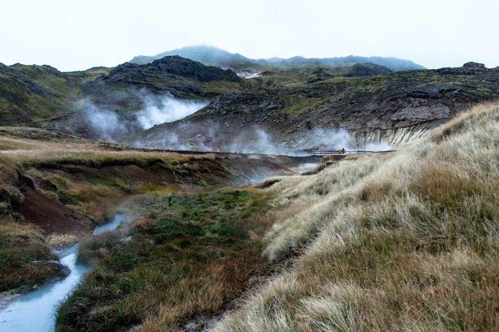 Photo in Landscape #hot #cold #grass #steam #lava #mountain #moss #spring #hot spring #turf #creek.