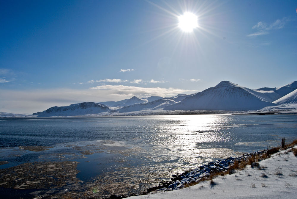 Photo in Landscape #ice #sun #moutnains #water #lake #river