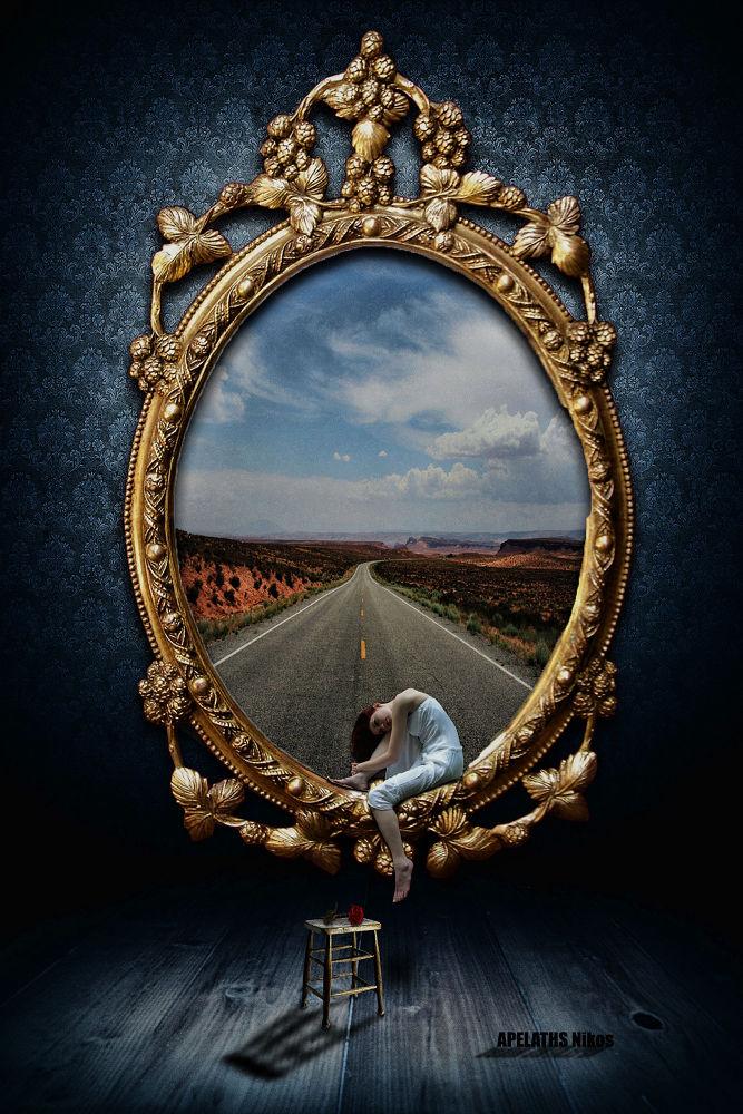 Photo in Random #surreal #mirror #girl #woman #road #chair #shit #rose