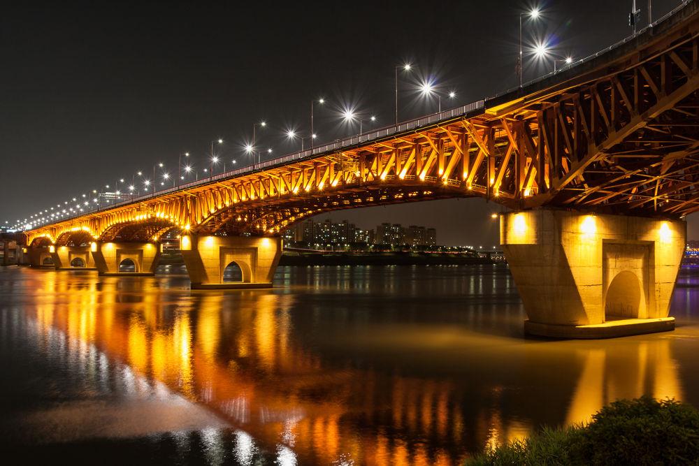 Photo in Architecture #han river #seongsu bridge #seoul #rok #south korea #night