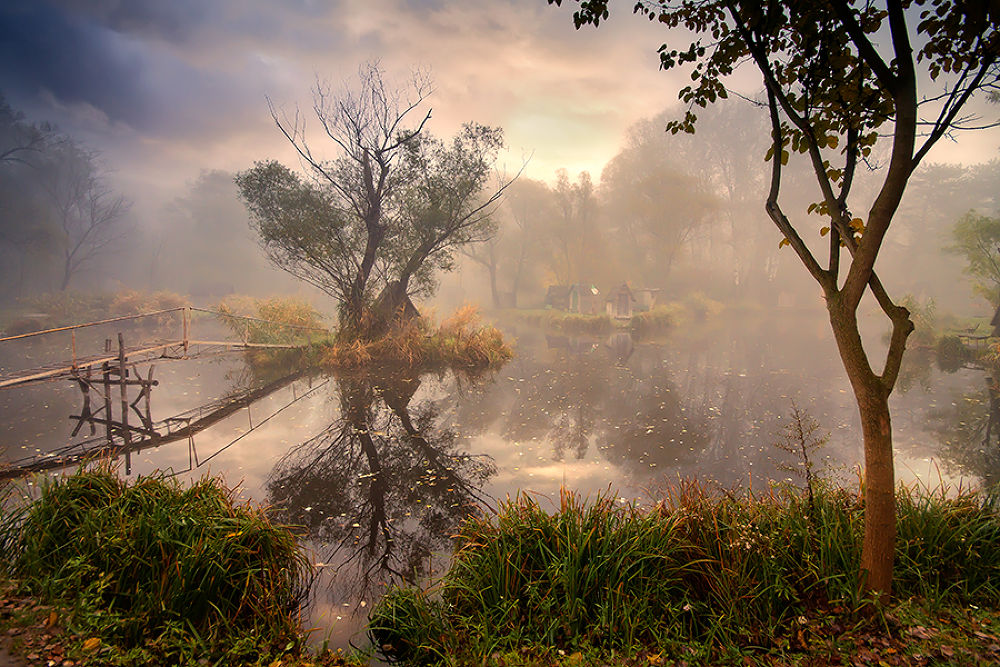 Photo in Landscape #water #landscape #house #clouds #sun