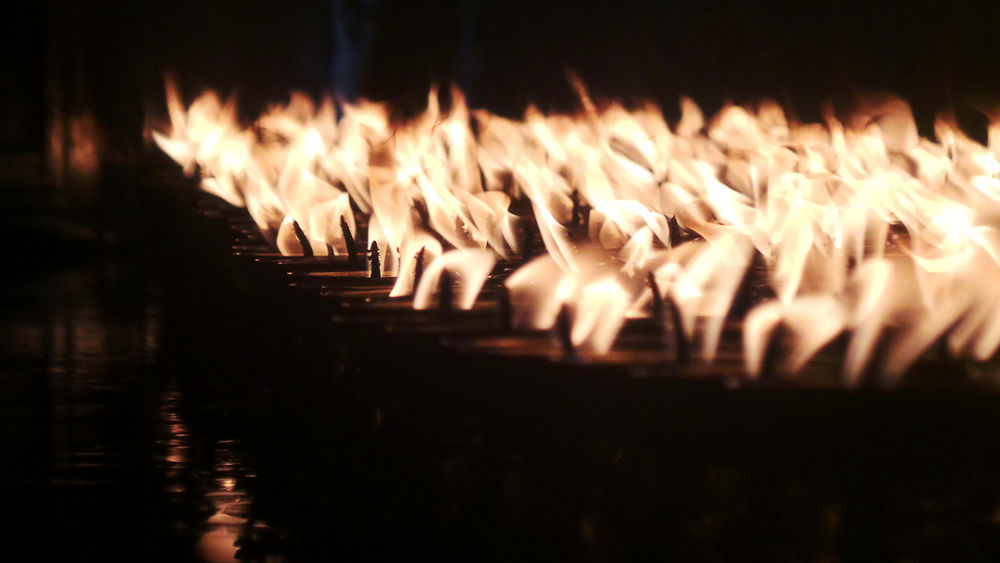 Photo in Travel #temple #candles #burning candles #buddist