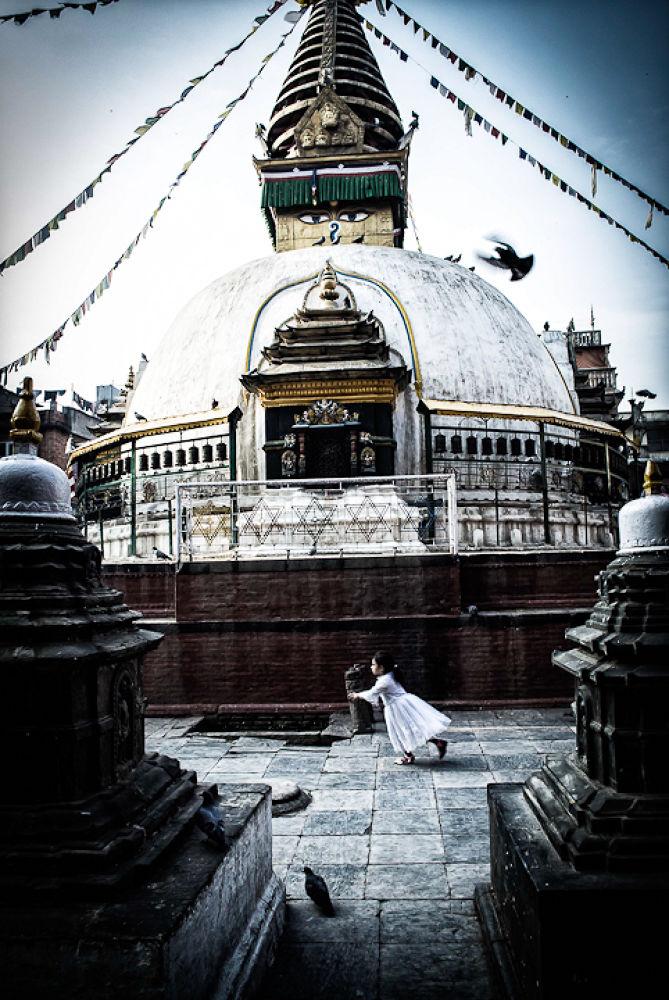 Photo in Random #stupa #little girl #running #pooja