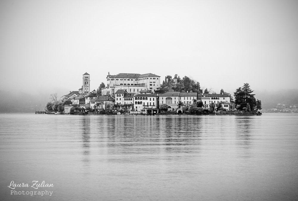 Photo in Landscape #ypa2013 #landscape #panorama #black&white #orta #lake #lago #italy #postcard #cartolina #athmosphere