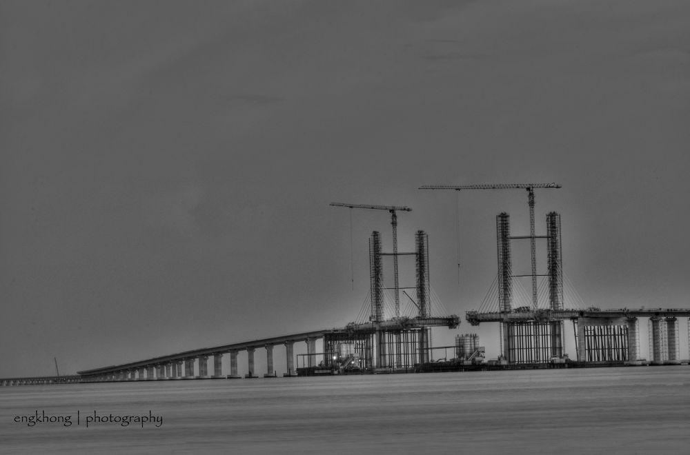 Penang Second Bridge Construction In-progress (HDR B&W) by engkhong