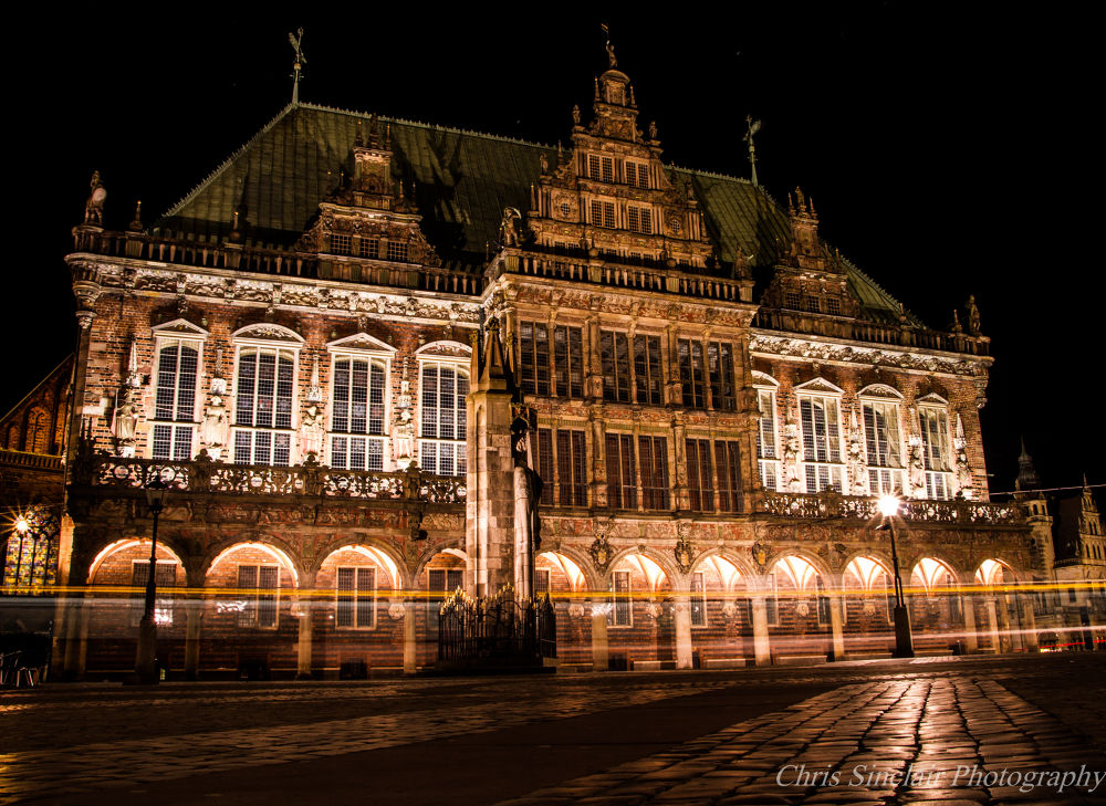 Tram Trails by the Rathaus by Chris Sinclair