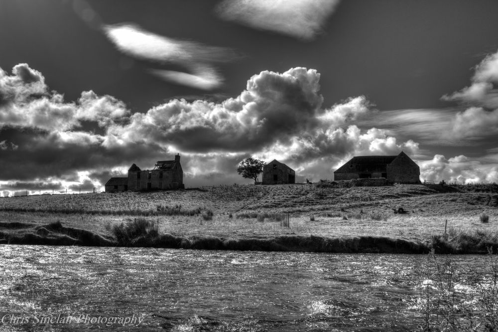 Photo in Black and White #derelict #black and white #ruins #landscape #farm #river #sky #sun #hdr #clouds