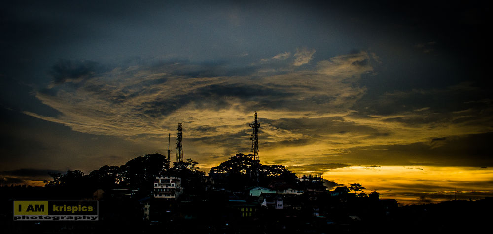 Photo in Random #sky #clouds #towers #hill #sunset #pillars #weather
