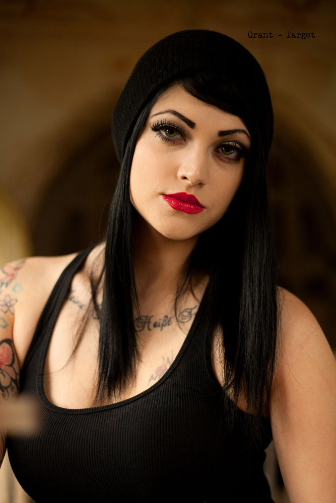 Photo in Portrait #nikita #goth #gothic #church #tattoo #beautiful #eyes #black #red lips #feeling