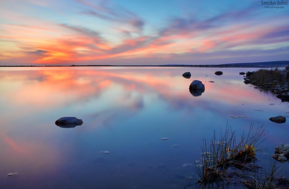Photo in Landscape #sunset #long exposure #blue #clouds #water #seascape #croatia
